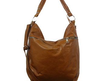 Cognac Brown Leather Hobo, Hobo Bag, Slouchy leather bag,  Crossbody bag,  Everyday Leather,  Cognac Shoulder Bag