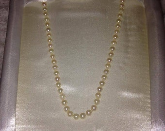 Akoya Pearl Choker Necklace w/ Gold Clasp