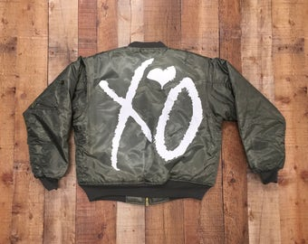"The Weeknd ""XO"" Bomber Jacket (White-Print)"