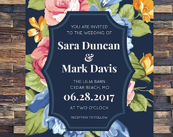 SAVE THE DATES Wedding Invitations Digital Download Printable Invitations