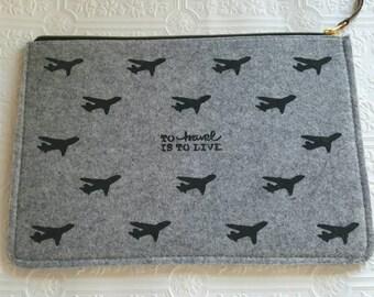Gray Felt Clutch/ Felt Tablet Sleeve/ Tablet Accessory/ Travel Clutch