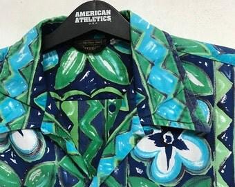 Vintage 60s 70s Mens Hawaiian Sears Panel Print Loop Collar Double Pockets Hawaii Shirt Large Retro Rockabilly Gypsy Summer Beach Wear