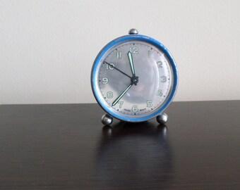 Vintage Swiss Alarm Clock, Luminous Clock, Retro Desk Clock, Mechanical Clock With Arabic Numerals, Blue Clock, Working Clock, Swiss Made