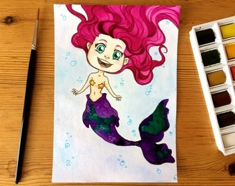 Pink Mermaid - original illustration