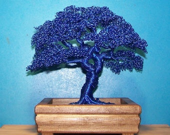 Hokidachi Style Wire Tree Sculpture (Blue)