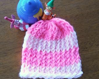 Disney Inspired Hat, Winnie the Pooh Hat, Piglet Hat, Yarn Hat, Loom Knit & Handmade