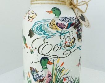Handmade Cath Kidston Ducks Mason Jar