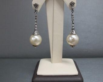 Antique sterling silver pearl dangle earings
