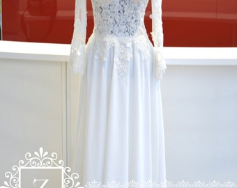 Wedding Dress/ Ivory Lace Chiffon Long Sleeves Backless Bridal Dress/Long Sleeves Backless Wedding Dress/Chiffon Bridal Dress