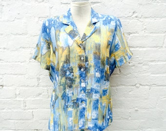 Summer shirt, blue yellow vintage blouse