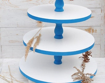 4 tiered cake stand,White blue 4 tiered cake ctand,4 tiered wedding cupcake stand,4 tiered white cake pedestal,4 tiered wood blue cake stand