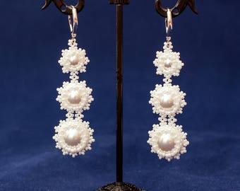 Wedding earrings, Long earrings, Beaded earrings, present for her, women's earrings, gift for wife, Christmas gift, summer earrings