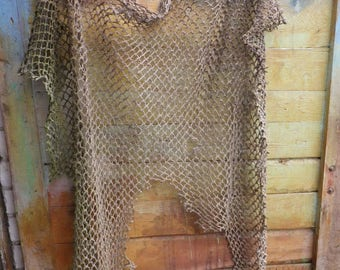 Authentic Used old Fishing Net / antique / approximately 5 x 5 feet - 1.5 x 1.5 meters / Nautical Decor