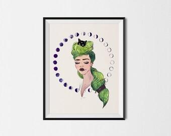 Lunar Goddess Art Print | Wall Art, Illustration, Gift Idea.