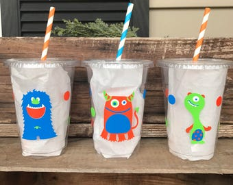 Monster Party Cup, Little Monster, 1st Birthday, Custom 16 oz. Clear Plastic Disposable Drink Cups with Tops & Straws, set of 8,10,12,15