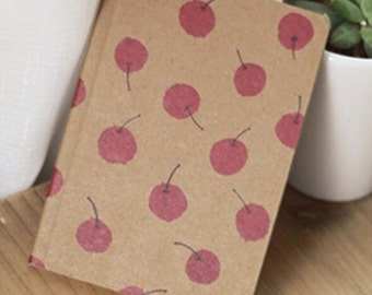 SALE! Vintage cherry durable notebook 12.5 x 9 cm 80 pages eco-friendly notebook office