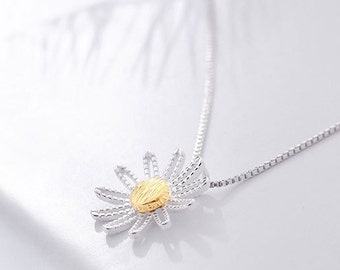 Necklace Silver 925 gold plated flower wife Lucie nature boho minimalist modern trend