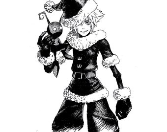 Christmas Sora - Kingdom Hearts (Ink Drawing Original)