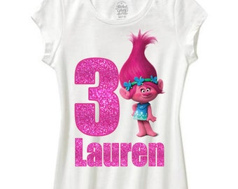 glitter trolls birthday shirt poppy real glitter font and number any color shirt