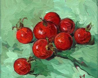 Mini RED tomatoes. Still Life. Original Oil Painting by KIMAZO.