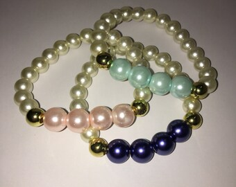 Pearl bracelets with a splash of color