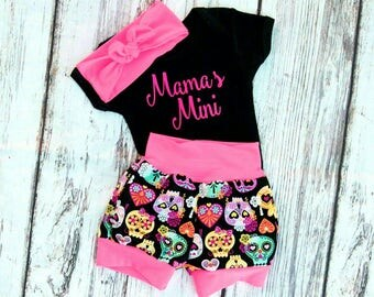 Baby sugar skull outfit,baby girl coming home outfit,toddler sugar skull outfit,mama's Mini outfit,sugar skull outfit, day of the deadoutfit