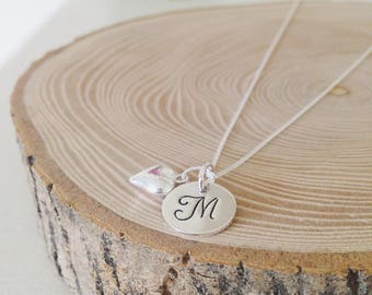 Sterling silver handstamped disc and sterling silver heart charm
