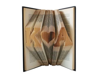 Folded Book Art, Paper anniversary gift for her, for him, Wedding gifts for couple, Anniversary gifts for parents, Wedding gifts for couple