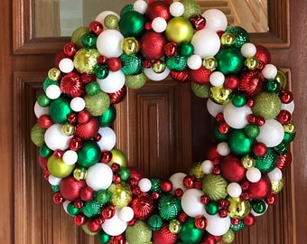 Gorgeous Red, White, Dark Green, and Lime Green Christmas Ornament Wreath, Bauble Wreath! The most detailed ornament wreath you'll ever find