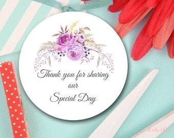 Purple Boho Tags, Thank You Tags, Boho Bridal Shower Favor Tags, Boho Baby Shower Favor Tags, Wedding Favor Tags, Thank You Labels LF12