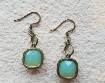 Simple Opaque Aqua Glass Drop Earrings, Mint Green, Turquoise, Trendy, Boho, Bohemian, Bridesmaid, Wedding, Gift For Her