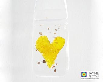 Yellow heart, fused glass, light catcher, glass heart, yellow gift, heart present, gifts under 5, new home gift, gifts for teachers