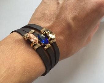 Sale Wrap up bracelet . Leather bracelet . Stylish bracelet , modern bracelet , black leather bracelet ,