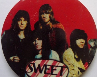 """The Sweet - Vintage 1970s 2.5"""" Pin Back Button Badge"""