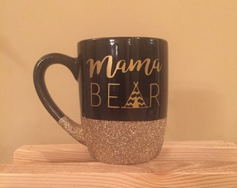 Mama Bear 12 oz coffee mug black with gold glitter - can personalize