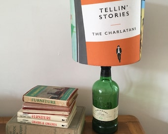 Lamp with limited edition Charlatans albums as book covers shade - liquor bottle lamp - unique lamp