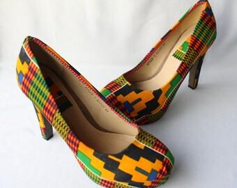 Kente Platform Heels, Size 7.5