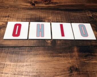 OHIO Coasters - Scarlet and Gray