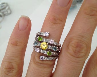 Stackable Ring, 925 Sterling Silver Ring, CZ and Silver Ring, Multi Stone CZ Ring, Cubic Zirconia Ring