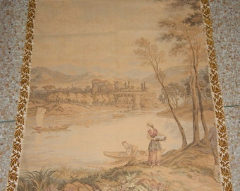 Vintage French Beautiful Stream Tapestry 0168