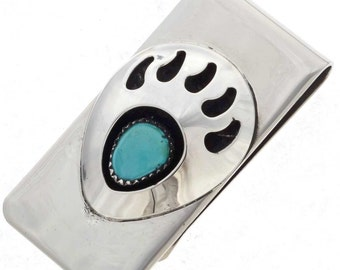 Turquoise Money Clip Indian Bear Paw