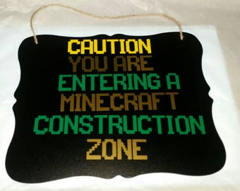 Minecraft Construction chalk board sign, Minecraft, Minecraft sign, Minecraft construction