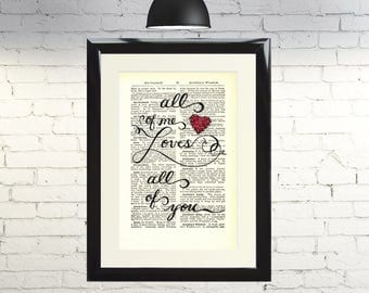 Vintage Dictionary Page All of Me Loves All of You Wall Art Print Antique 3 column Home Decor Gift Framed and Mounted