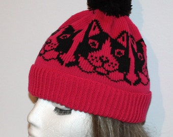 Cerice Pink beanie hat with Black Cats and Pompom
