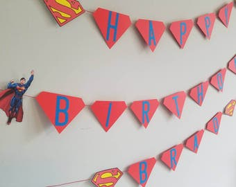 Superman happy birthday banner with name