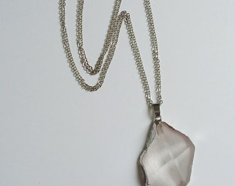 Pale Pink Crystal Necklace and Pendant