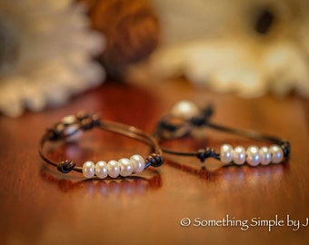 Mini Freshwater Pearls leather bracelet