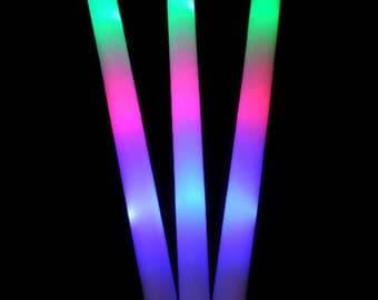 100 PCS, Flashing Glow Foam Sticks, Light Up, LED, Wands, Batons