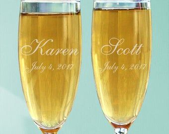 Personalized Wedding Toasting Flutes Custom Name Gift