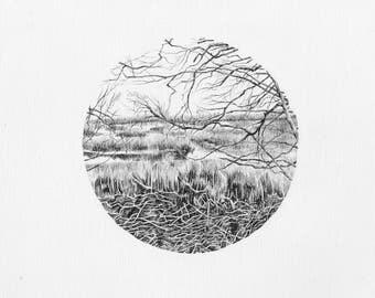 Original Ink Pen Drawing, The Gearagh, Macroom, Ireland.